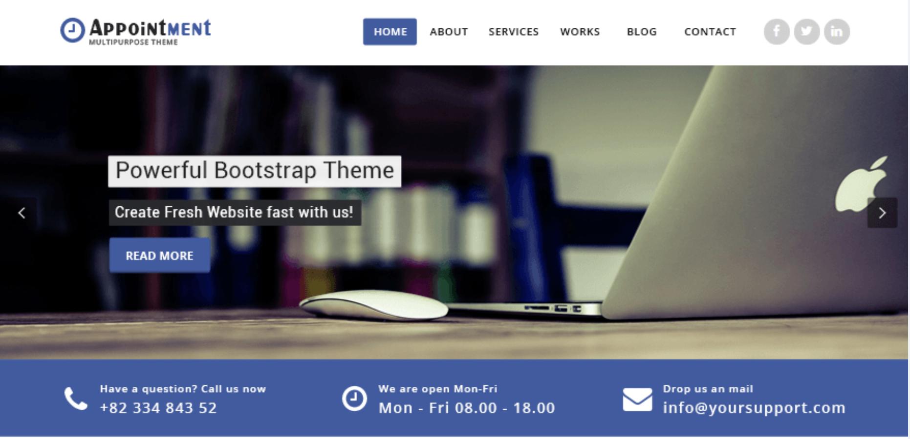 Free Appointment Blue WordPress theme
