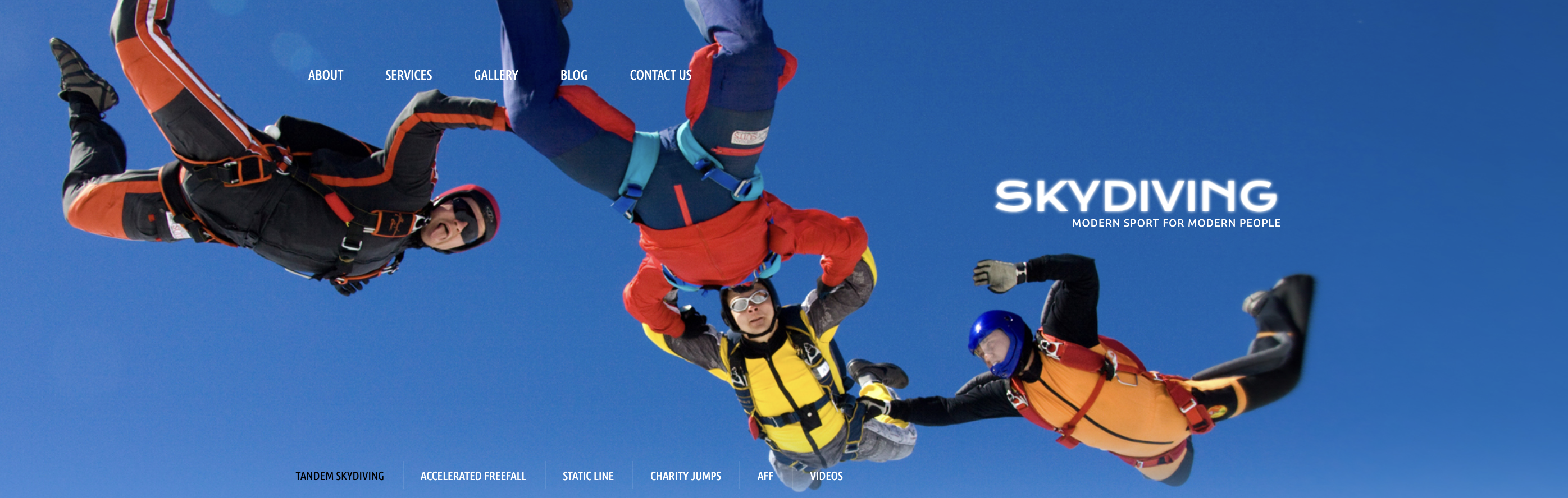 Skydiving blue wordpress theme