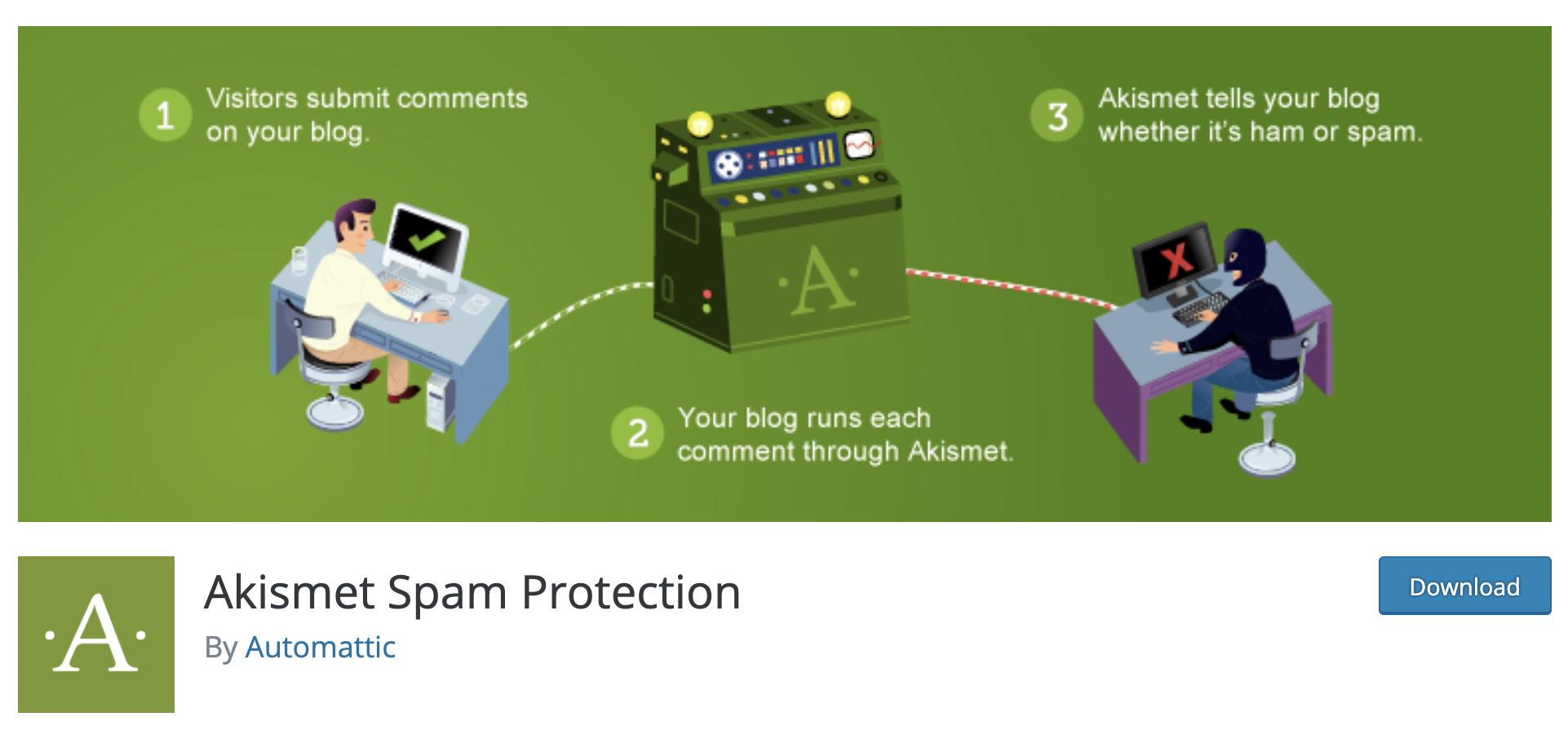 Akismet free plugin for WordPress