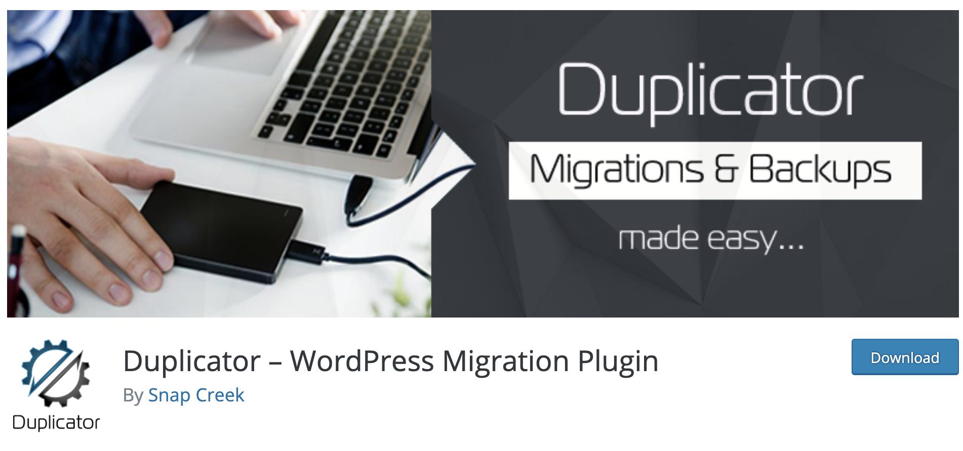 Duplicator free WordPress plugin