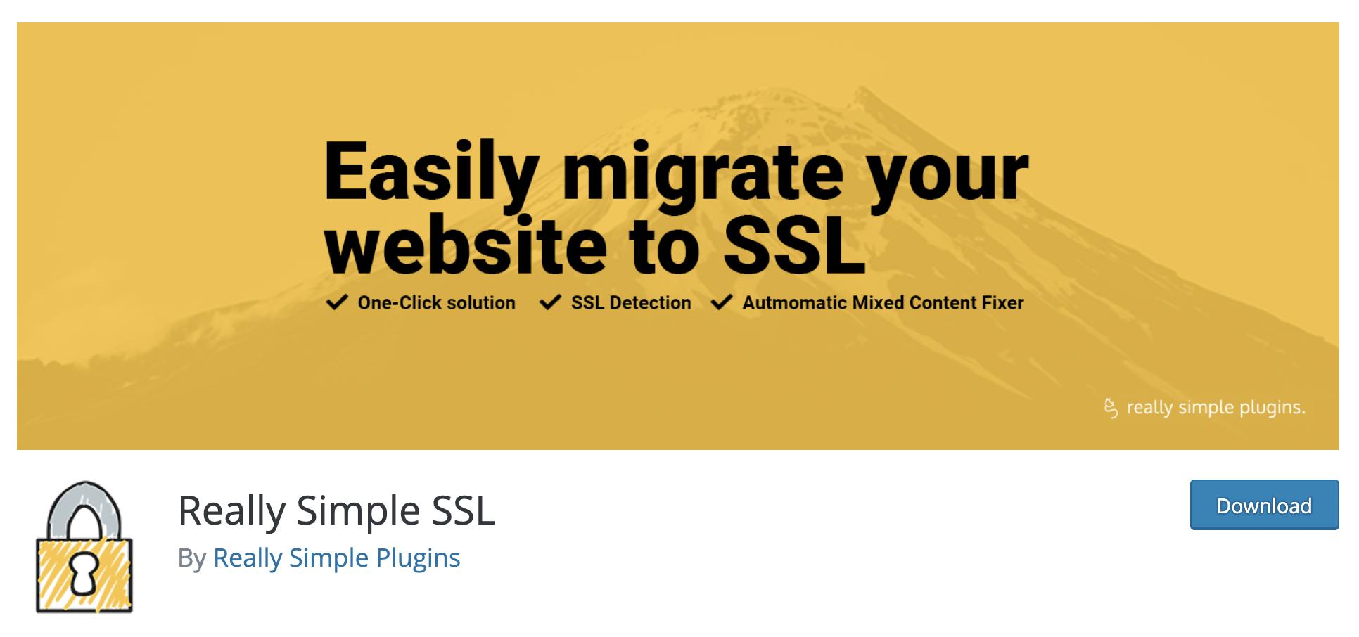 Really Simple SSL - free WordPress plugin
