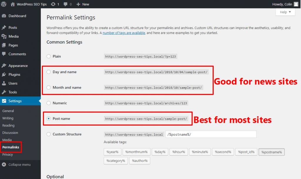 WordPress SEO tips for permalinks