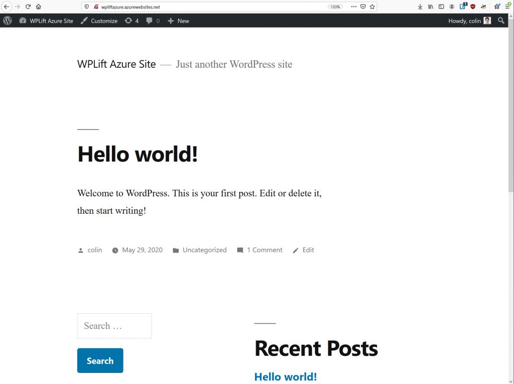 WordPress on Azure