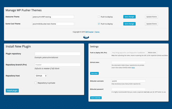 WP Pusher - Deploy WordPress Themes & Plugins from Github