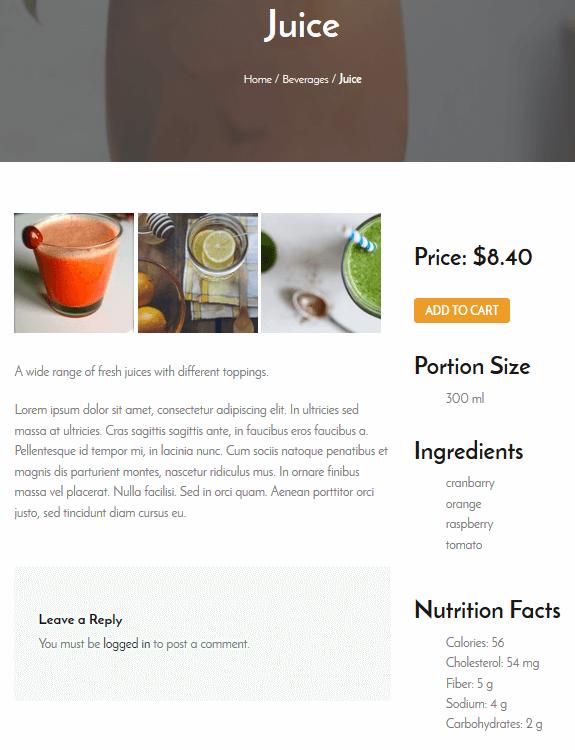 Restaurant Menu - Image Examples