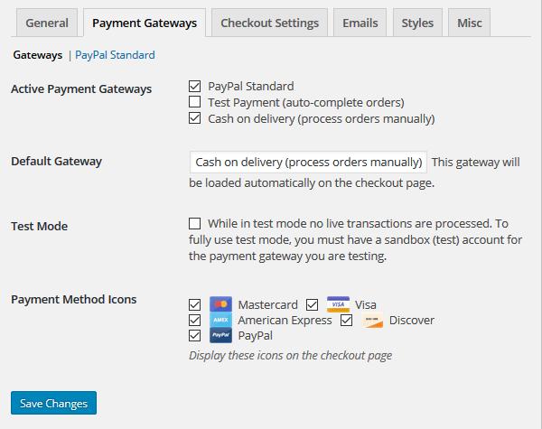 Restaurant Menu - Payment Gateway Settings