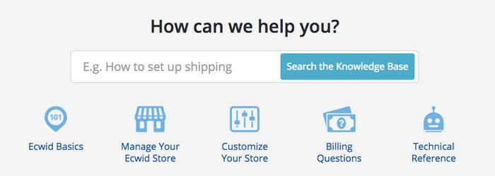 Ecwid - Dashboard Support
