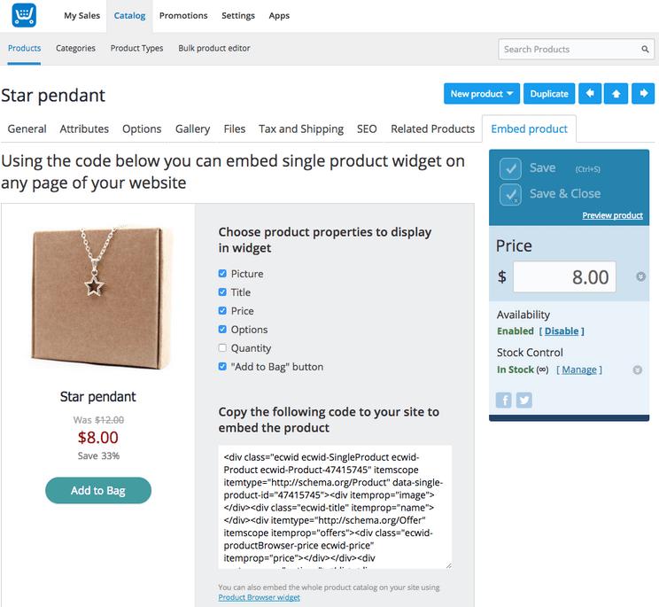 Ecwid - Widget Based Solution