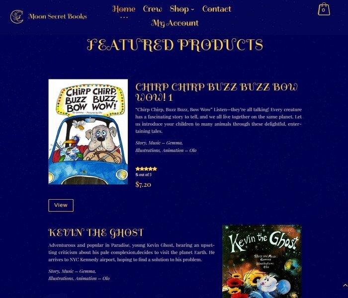 Moon Secret Books - Divi Website Example