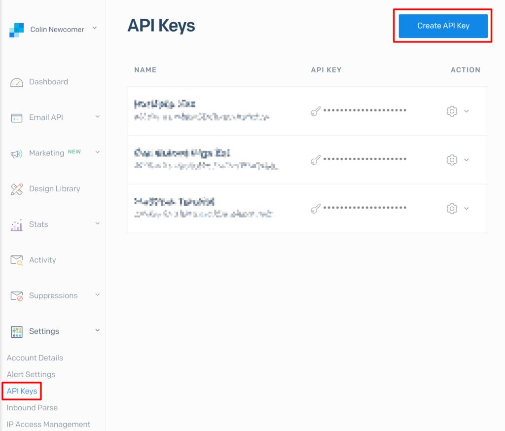 SendGrid API keys