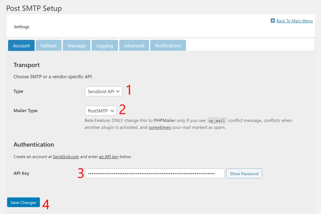 Add SendGrid API key