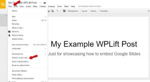 embed Google Slides in WordPress