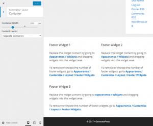 GeneratePress Footer Widget Areas