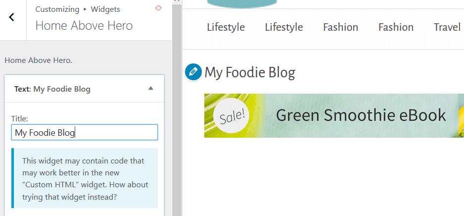 Culinary - Widget Example