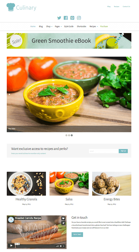 Culinary - WordPress Food and Recipe Blog