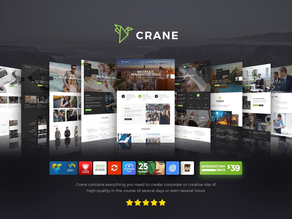 crane theme highly customizable multi purpose wordpress theme