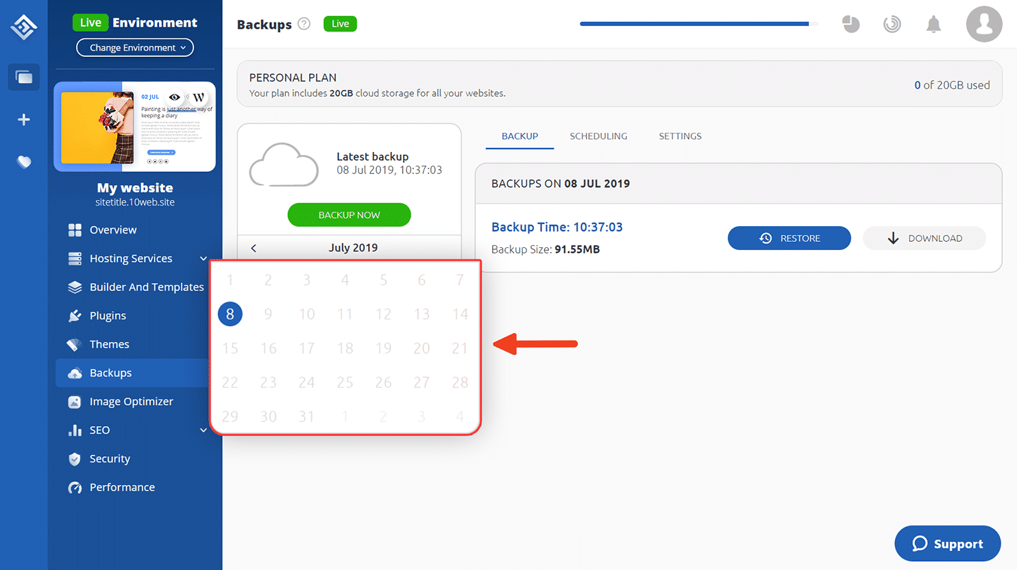 10Web_Backup_Dashboard