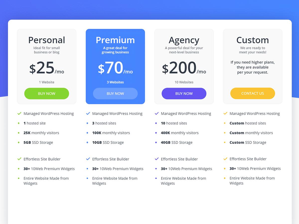 10Web_Pricing