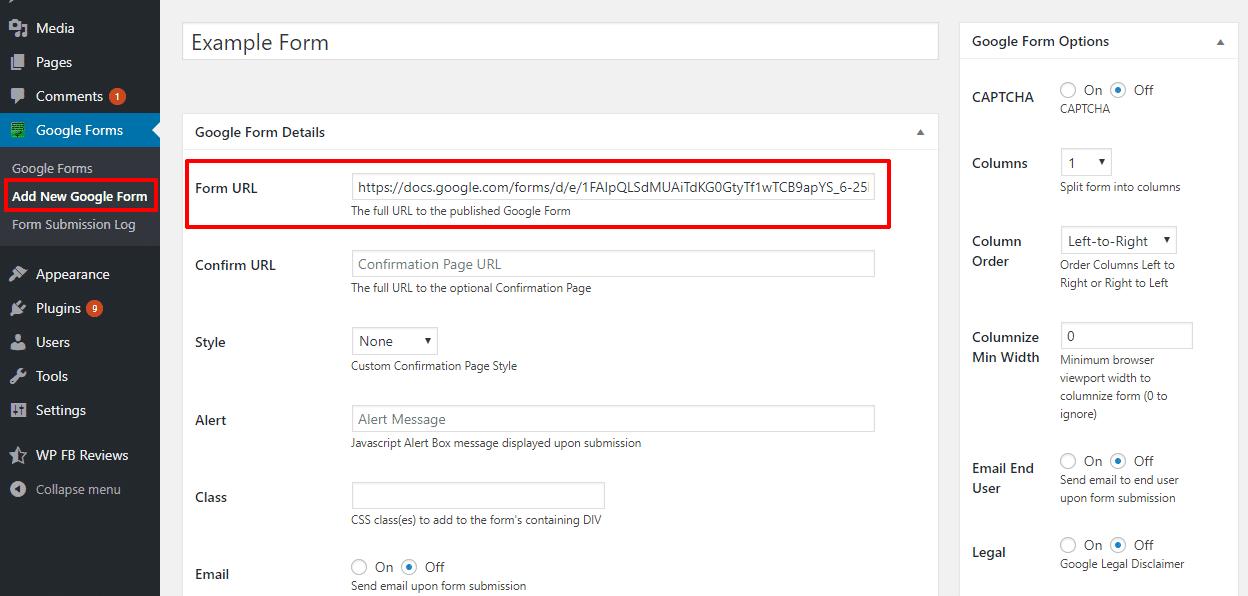 google forms custom post type