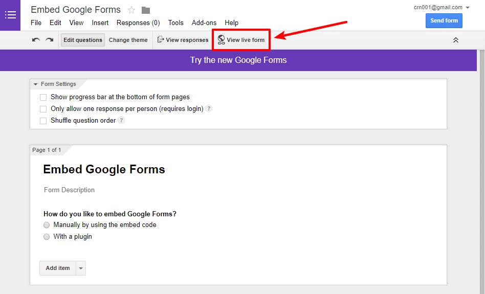 get form link