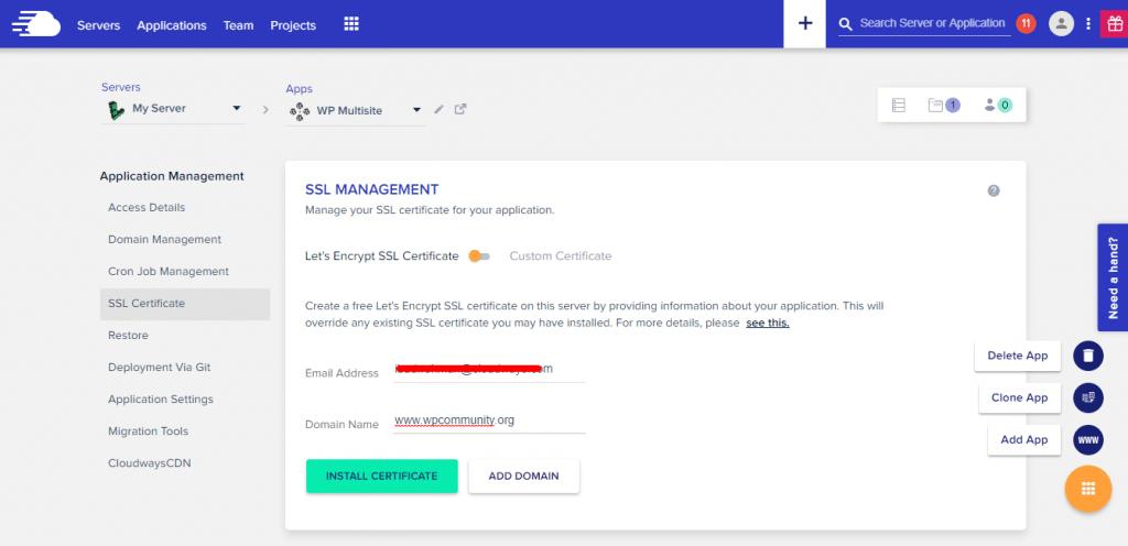 SSL on multisite