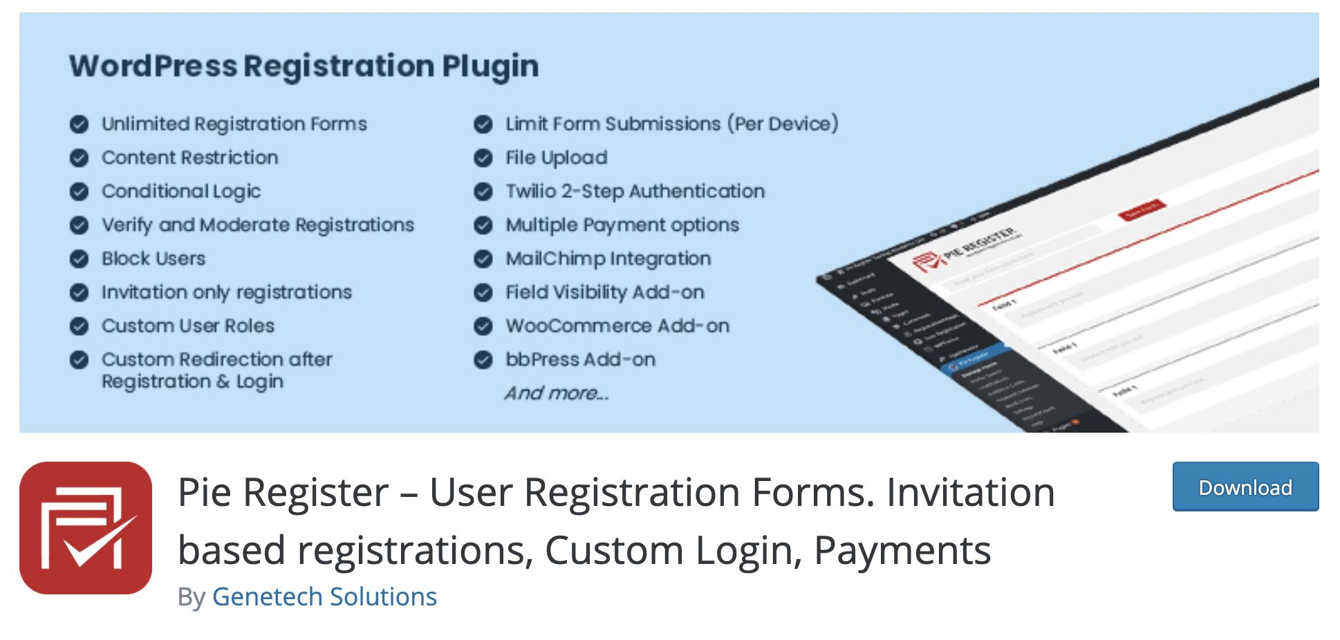 Pie Register –  WordPress registration plugin