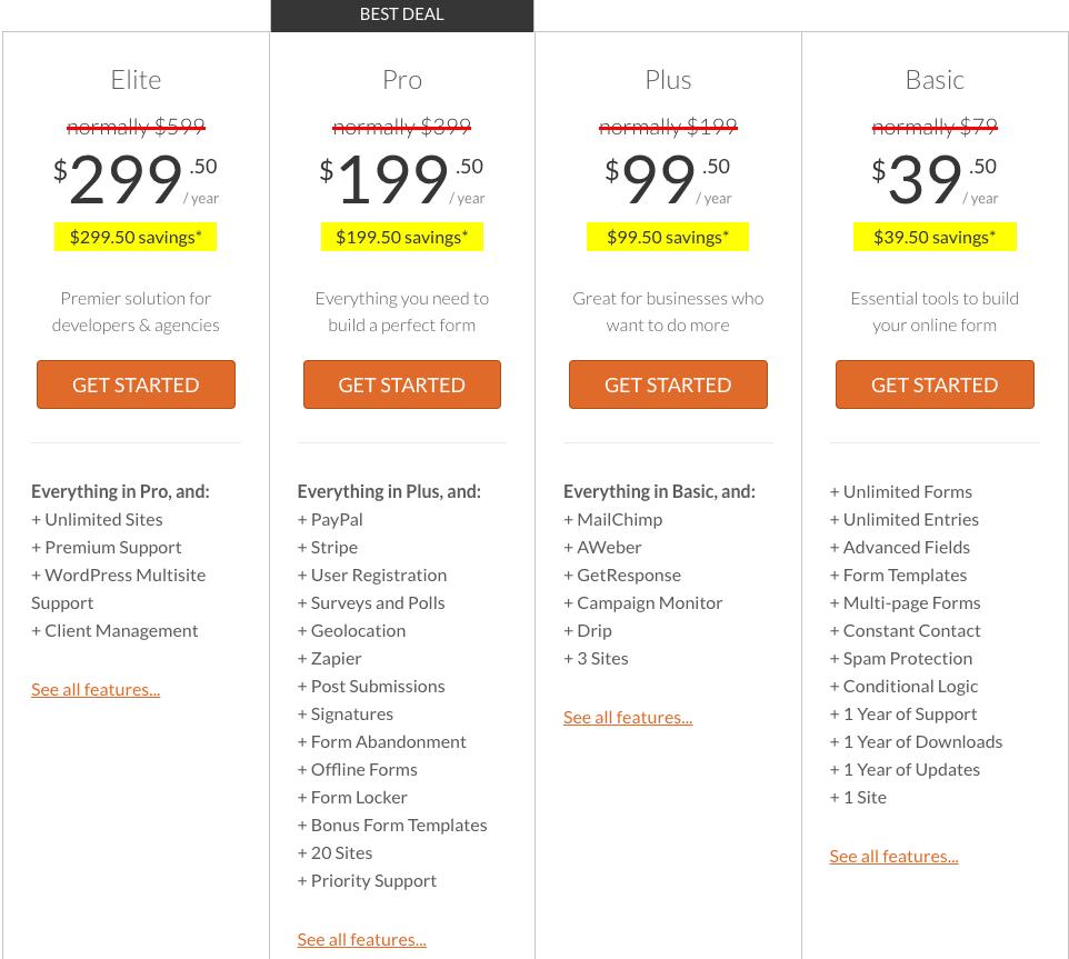 Pricing WPForms