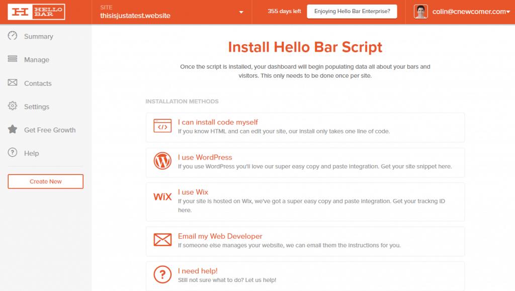 hello bar script