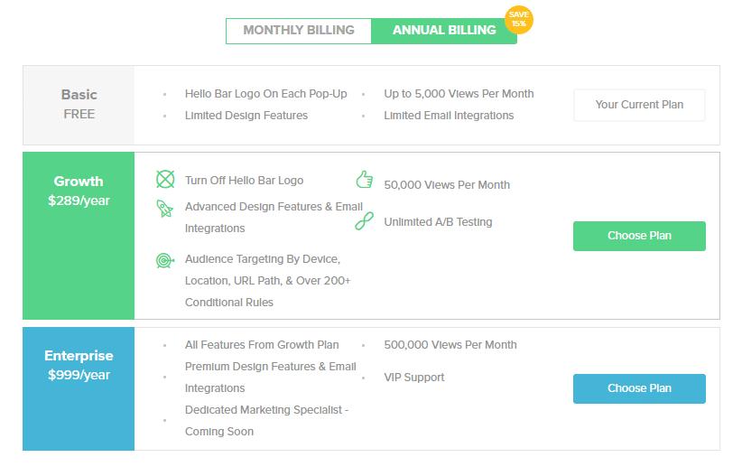 hello bar pricing