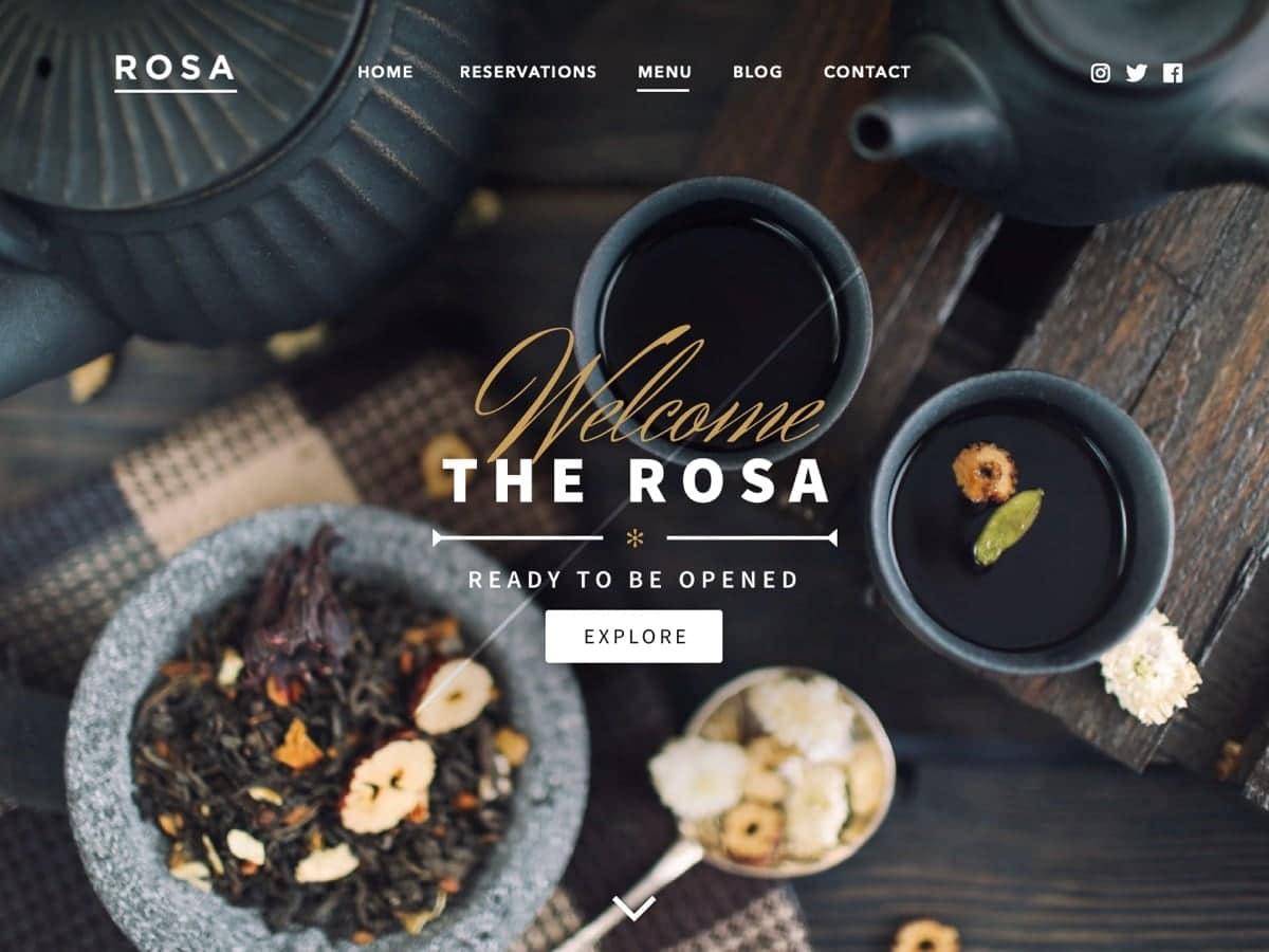 Rosa Lite Restaurant Free Theme