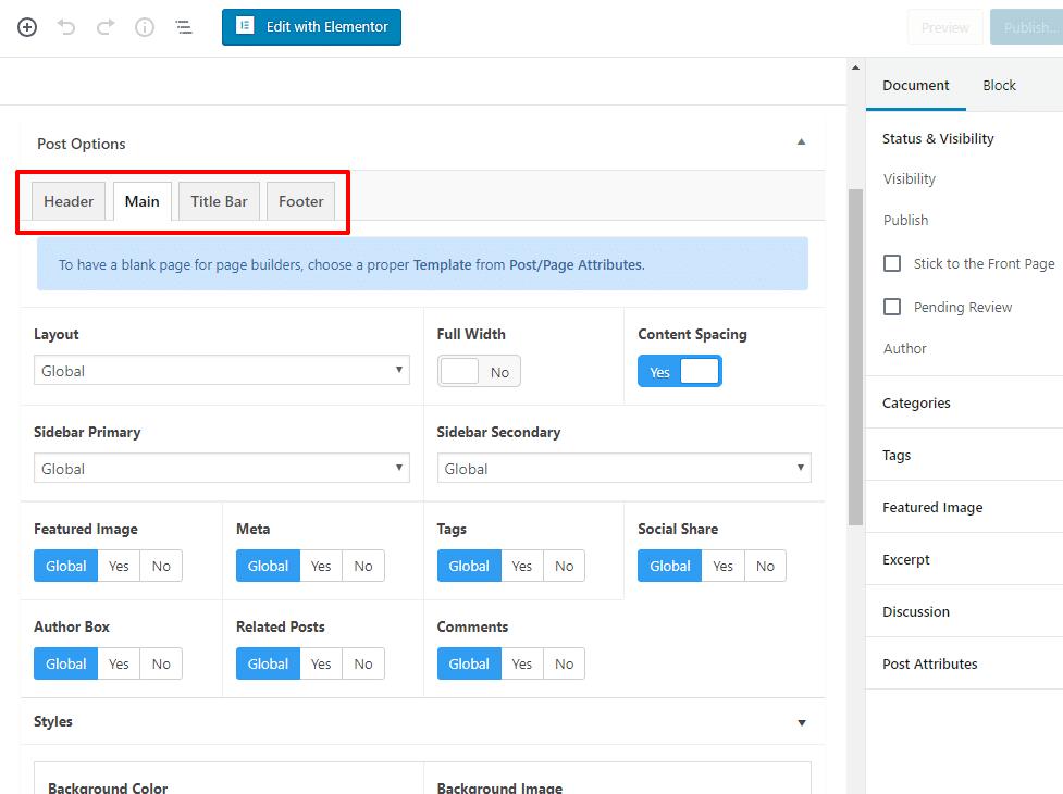 page meta box