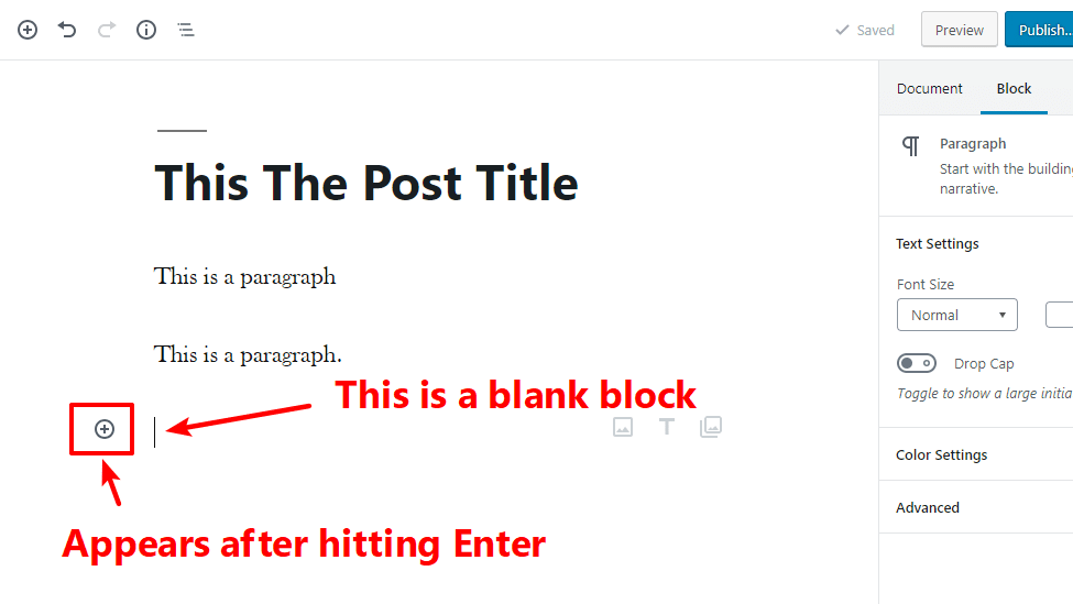 Add blank block