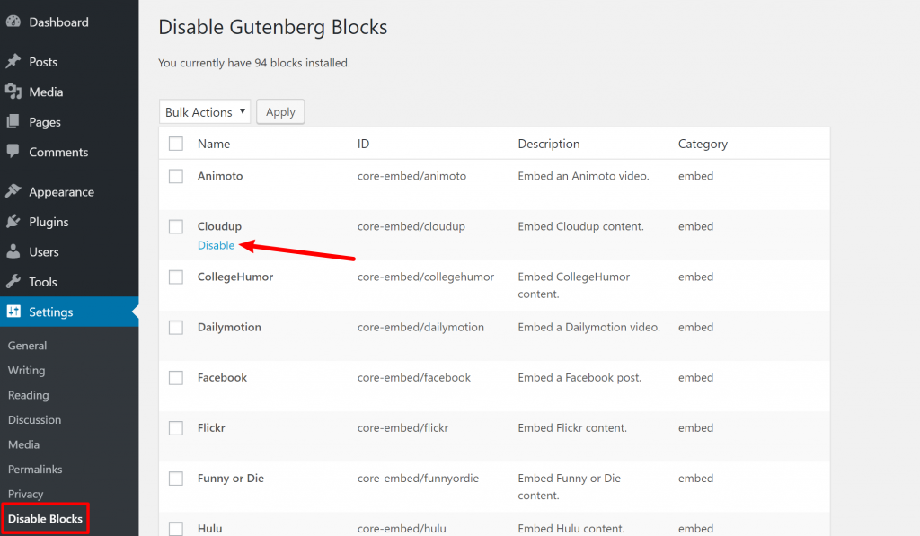 Disable Gutenberg Blocks plugin