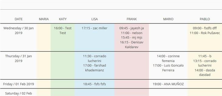 frontend availability calendar