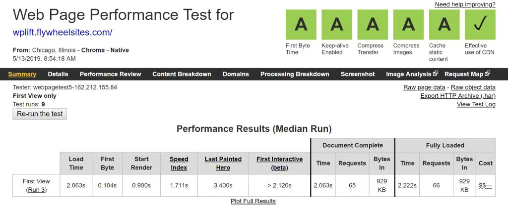 flywheel webpagetest results