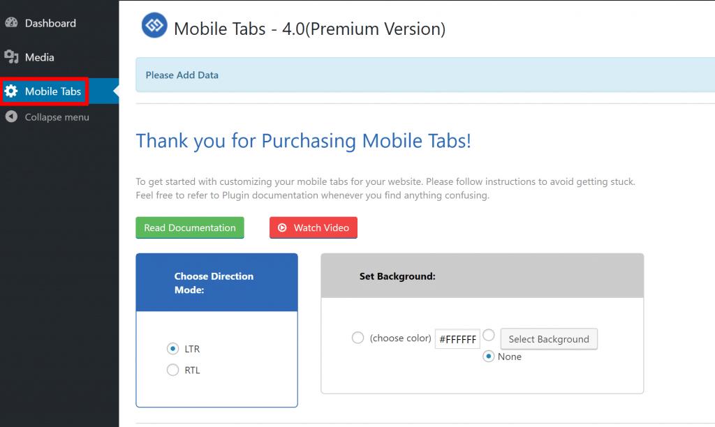 mobile tabs settings