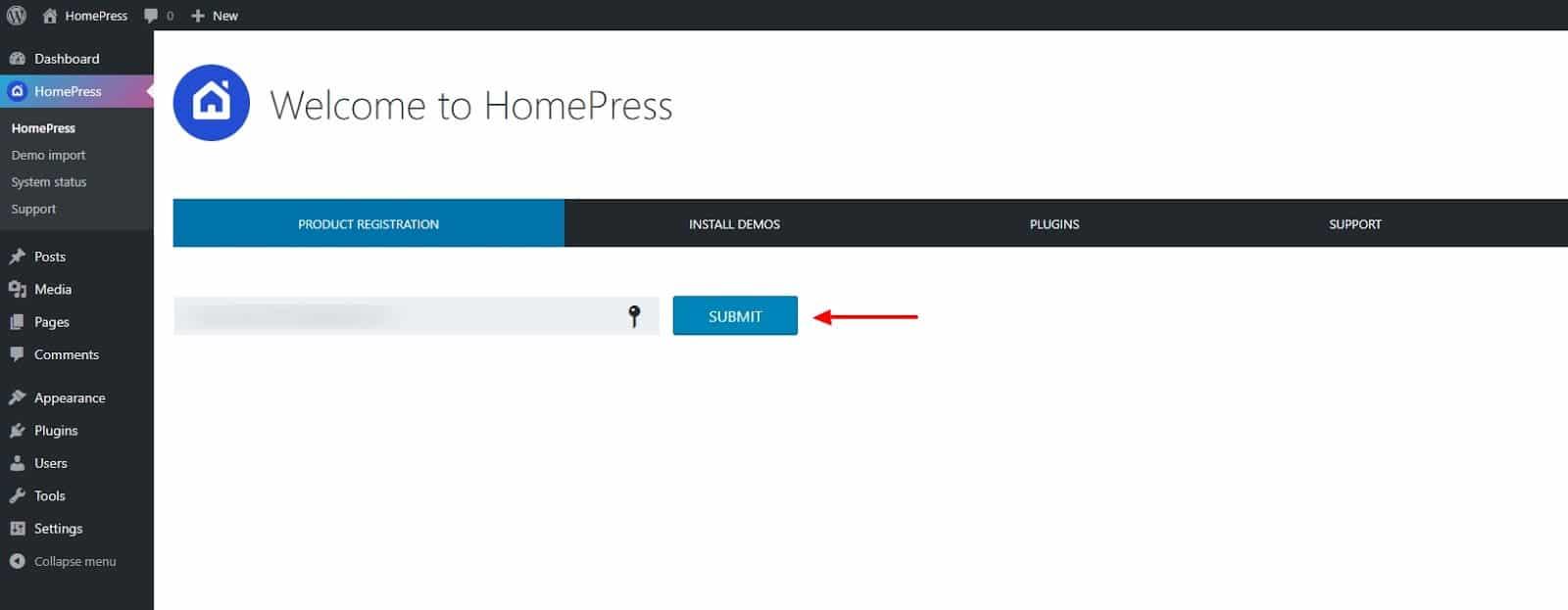 HomePress welcome screen