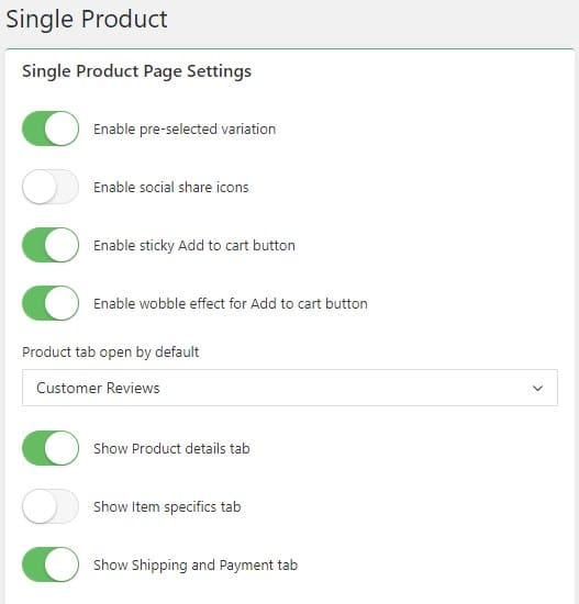 single product settings