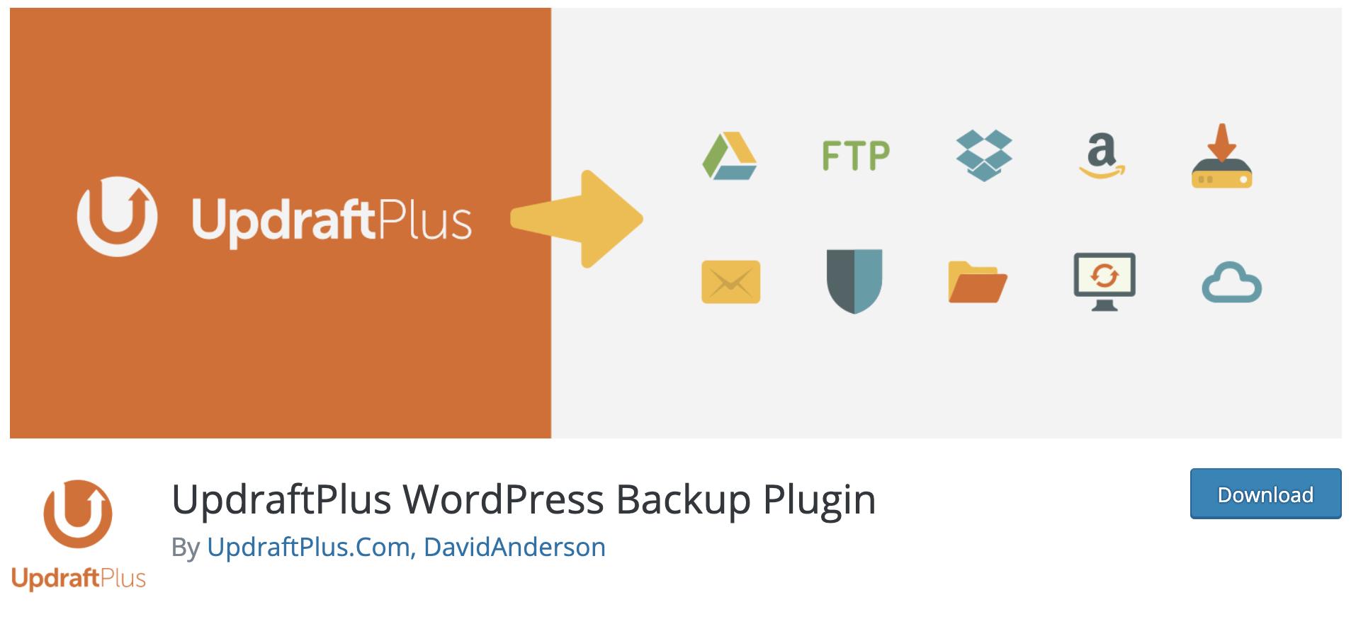 UpDraftPlus -  how to backup WooCommerce database
