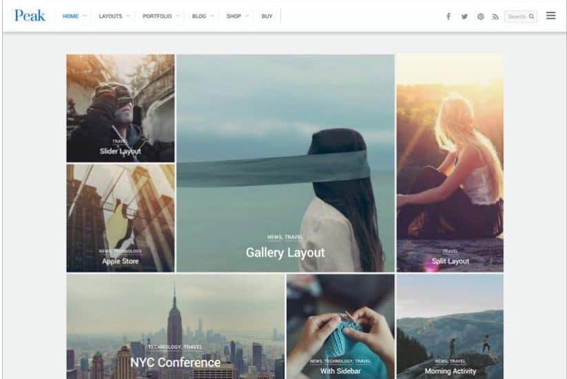 Peak WordPress grid theme
