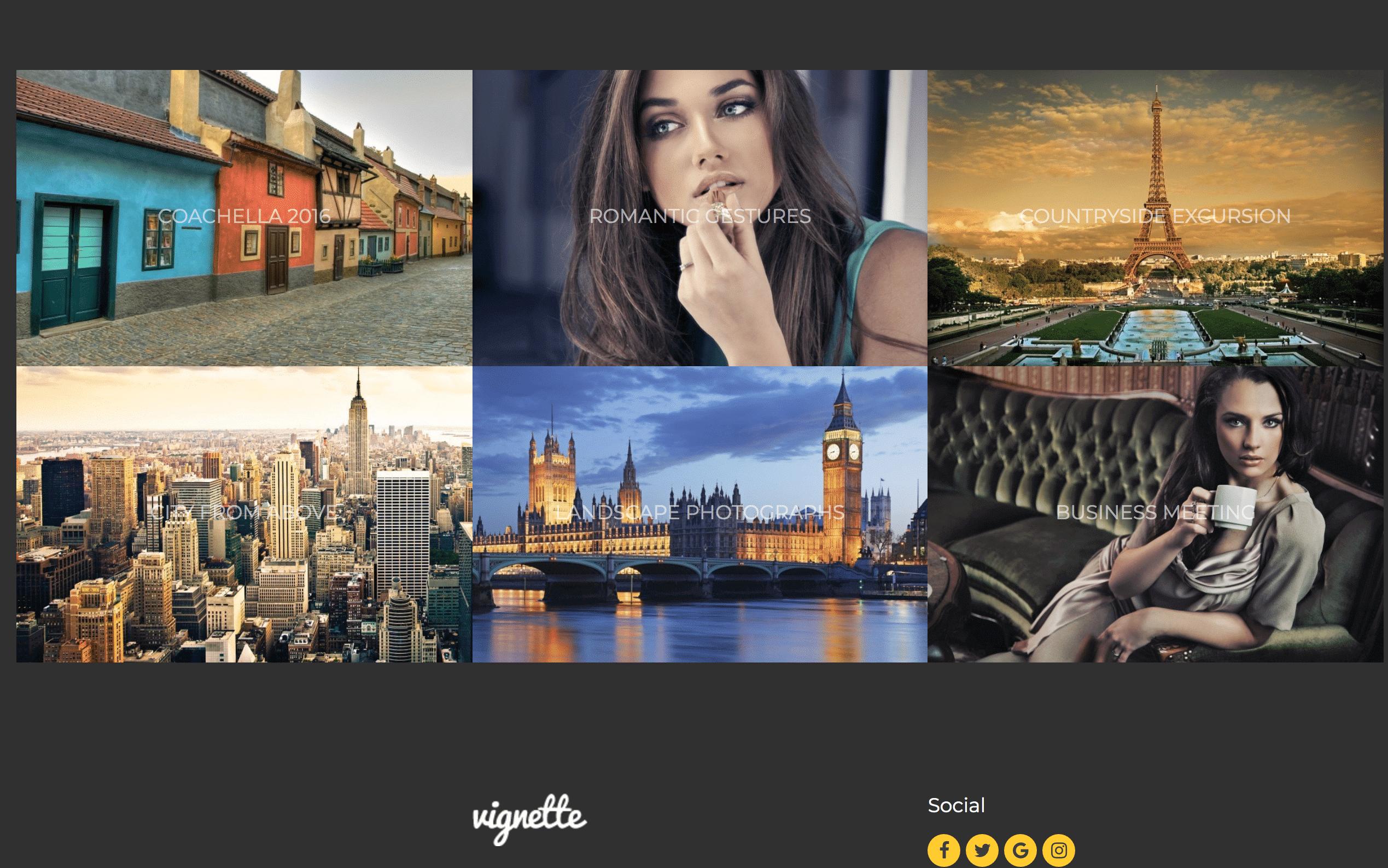 Vignette WordPress grid theme