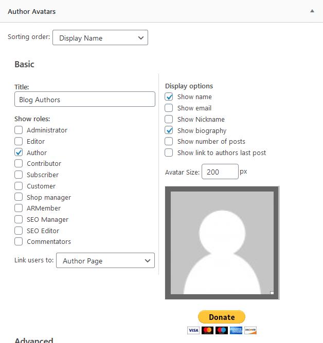 author avatar list widget - create author page wordpress