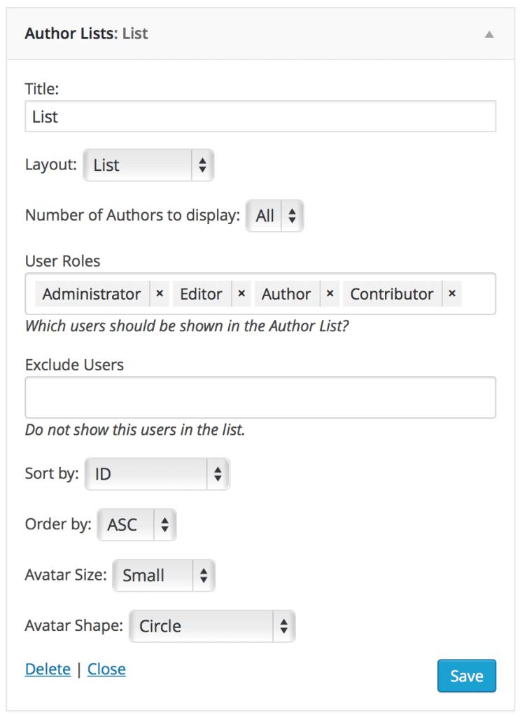 author lists plugin widget