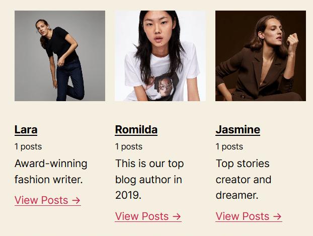 bio list authors - create author page wordpress