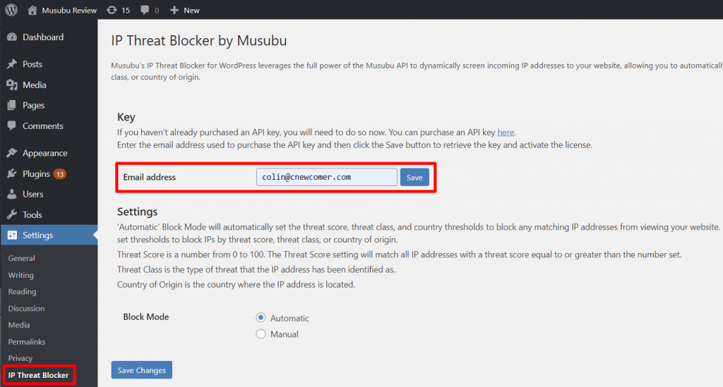 Musubu IP Threat Blocker Review of setings