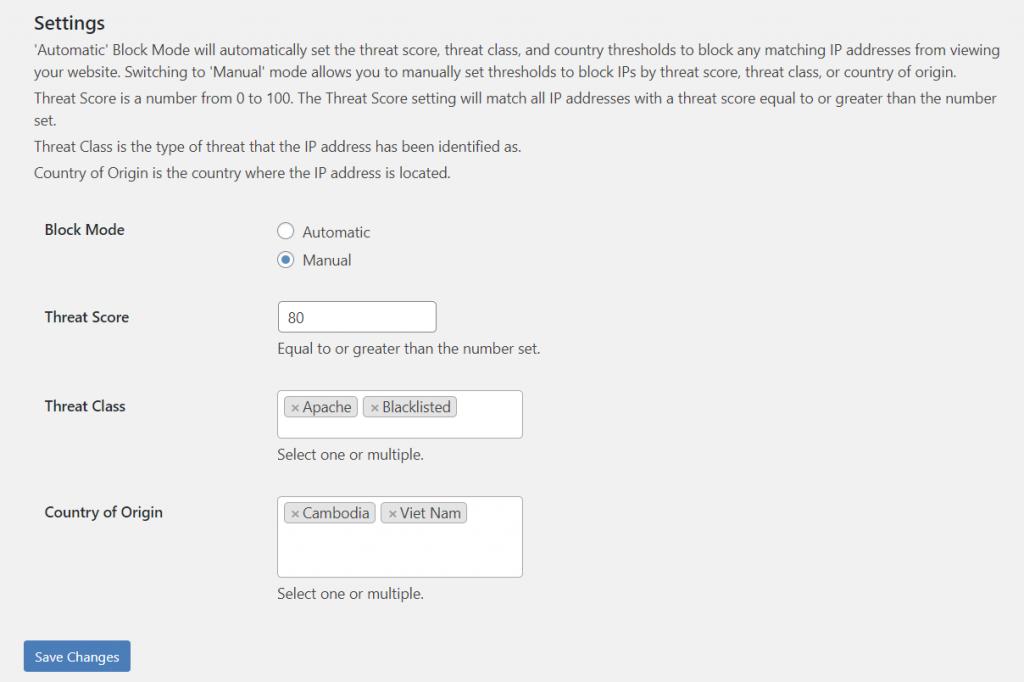 Musubu IP Threat Blocker manual mode