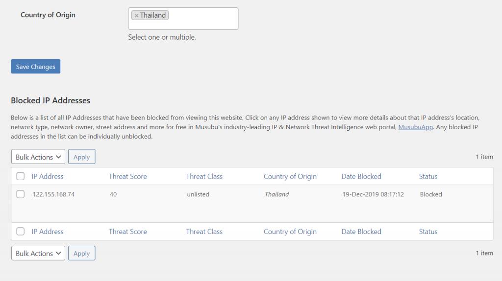 Blocked IP address in Musubu IP Threat Blocker