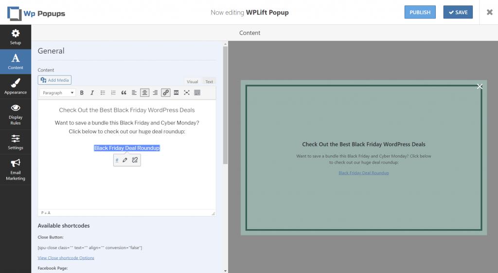 WP Popups content editor