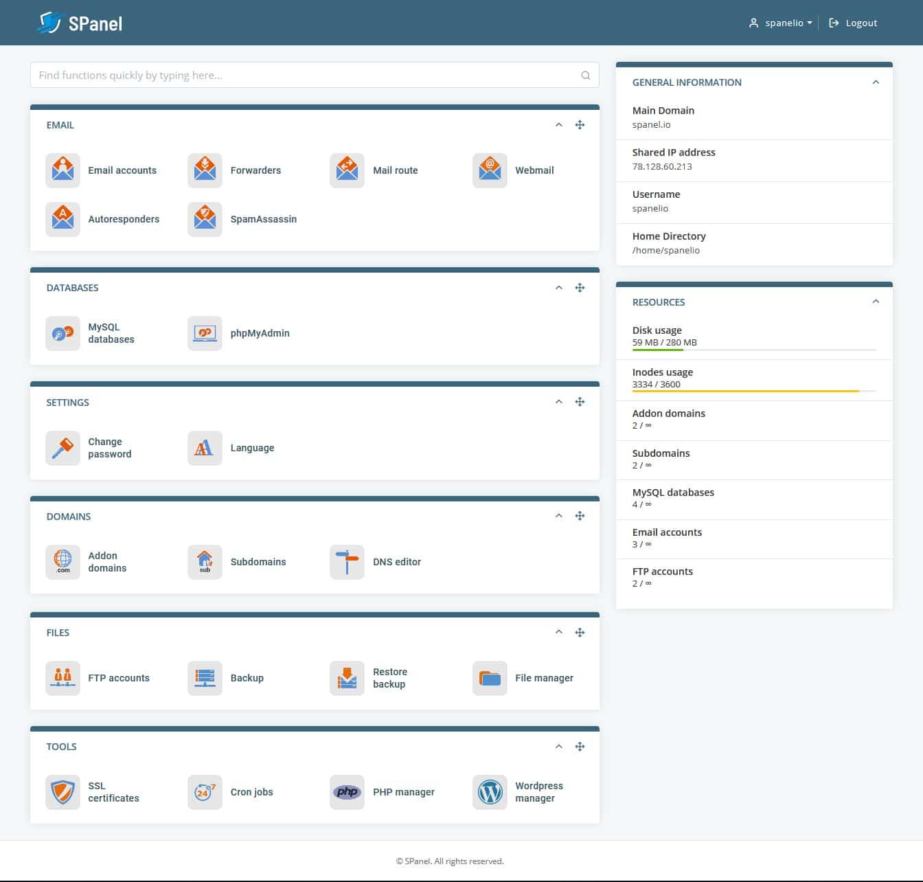 SPanel Scala hosting