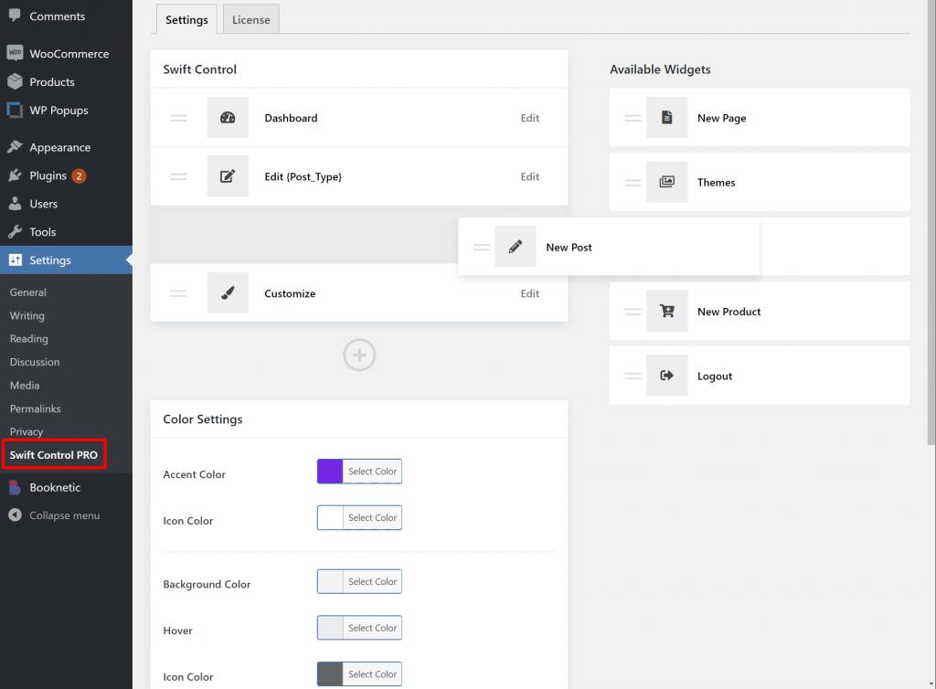 WP Swift Control dashboard
